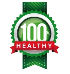 Hundred percent healthy green ribbon vector
