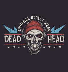 bearded skull label vector image