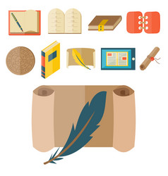 Books icons document magazine publication vector