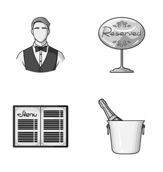 Waiter reserve sign menu champagne in an ice vector