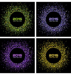 Set of colorful bright new year 2015 backgrounds vector