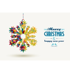 Christmas holidays triangle snowflake card vector