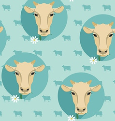 Modern flat design seamless of cow vector