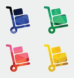 Luggage trolley icon abstract triangle vector