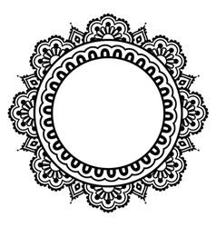Indian henna floral tattoo round pattern - mehndi vector