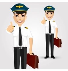Young friendly pilot with briefcase vector