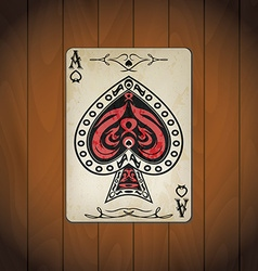 Ace of spades poker cards old look varnished wood vector