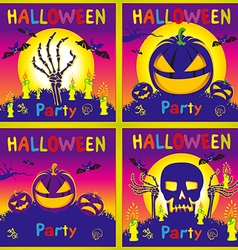 Happy halloween card background flat design kids vector