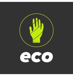 Eco hand in circle vector