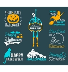 Halloween posters and badges set vector