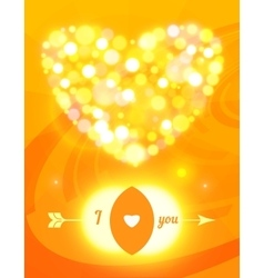 Valentine s day card with glass hearts and lights vector