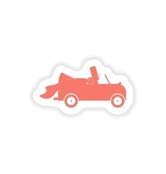 Paper sticker on white background bridegroom car vector