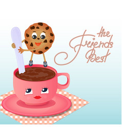 a cookie with a coffee cup friendship day vector image