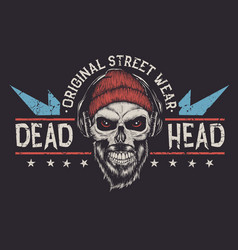bearded skull label vector image vector image