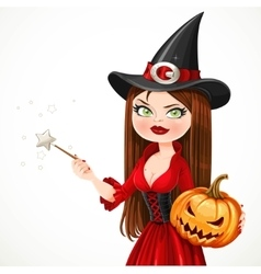 Beautiful witch portrait in a red dress holding a vector image vector image