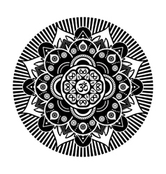 Black and white henna tatoo mandala om vector