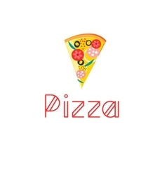 Bright delicious slice of pizza vector
