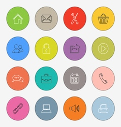 Collection colored rounds thin line icons template vector
