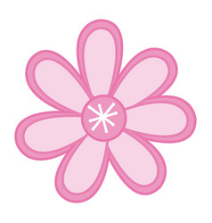 Color sketch with pink flower vector