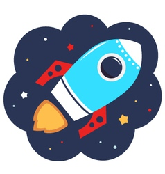 Cute cartoon colorful Rocket in space vector image