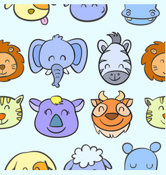 doodle of various animal head style vector image