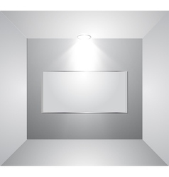 Empty gallery wall with light vector image