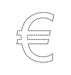 Euro sign black dashed icon on white vector