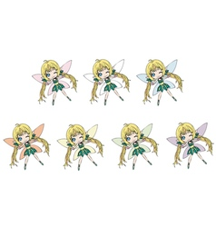 Fairies collection with different wing colors vector image