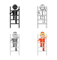 fireman icon cartoon single silhouette fire vector image vector image