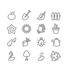 Gardening flat icons set vector