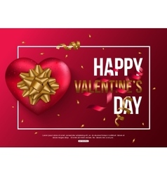 Happy valentines day card with red heart gold bow vector