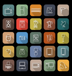 Household line flat icons with long shadow vector