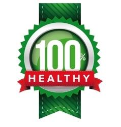 Hundred percent healthy green ribbon vector