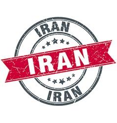 Iran red round grunge vintage ribbon stamp vector image vector image
