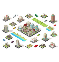 Isometric city constructor elements set vector