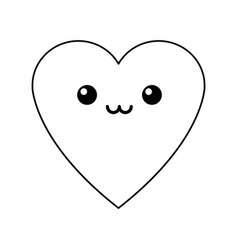 Kawaii heart love romance feeeling symbol vector