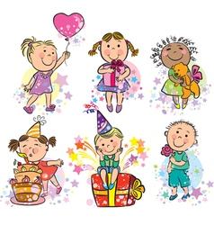 kids celebrating vector image vector image