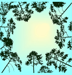 landscape with sky and pine trees vector image vector image