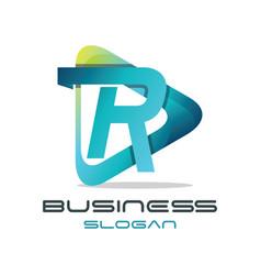 letter r media logo vector image