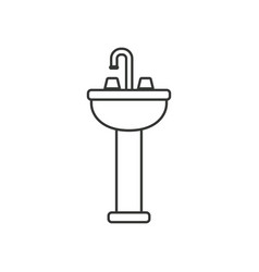 Monochrome silhouette of washbasin with pedestal vector