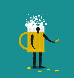 mug of beer mascot man promoter male in suit vector image vector image