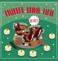 Mulled wine in mugs with sweets and cookies vector