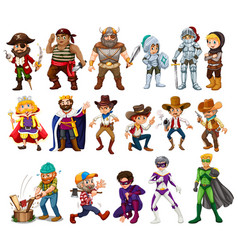 people in different costumes vector image vector image