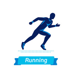 Running man logo or badge silhouette of vector