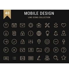 Set Flat Line Icons Mobile Design vector image