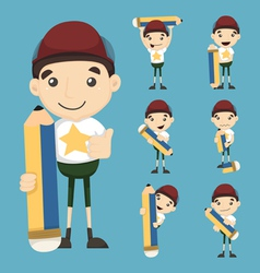 Set of boy and pencil vector image vector image
