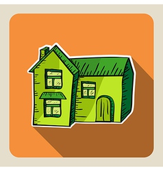 Sketch style green house vector image