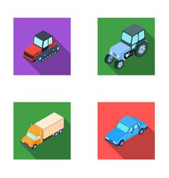 tractor caterpillar tractor truck car vector image vector image