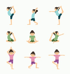 yoga set girl yoga exercises in lesson class Heal vector image vector image