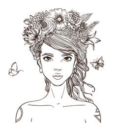 young beautiful woman with flowers vector image vector image
